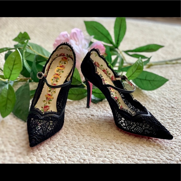 895cc6122 Gucci Shoes | Virginia Lace Heels With Mary Jane Strap | Poshmark